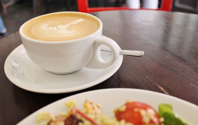 Taylor St Baristas Mayfair flat white coffee and chicken salad