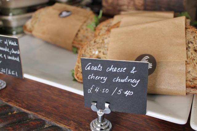 Taylor St Baristas Mayfair goats cheese and cherry chutney sandwich