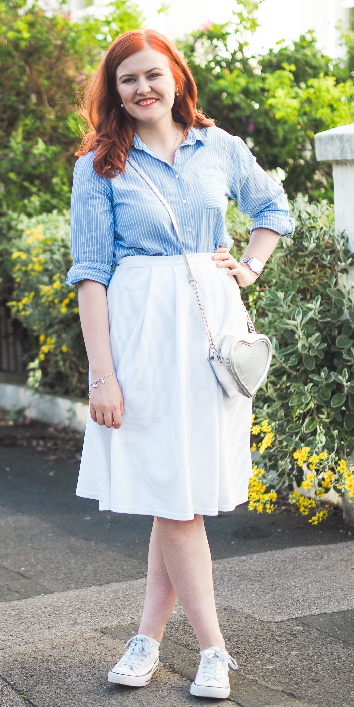 new look white midi skirt
