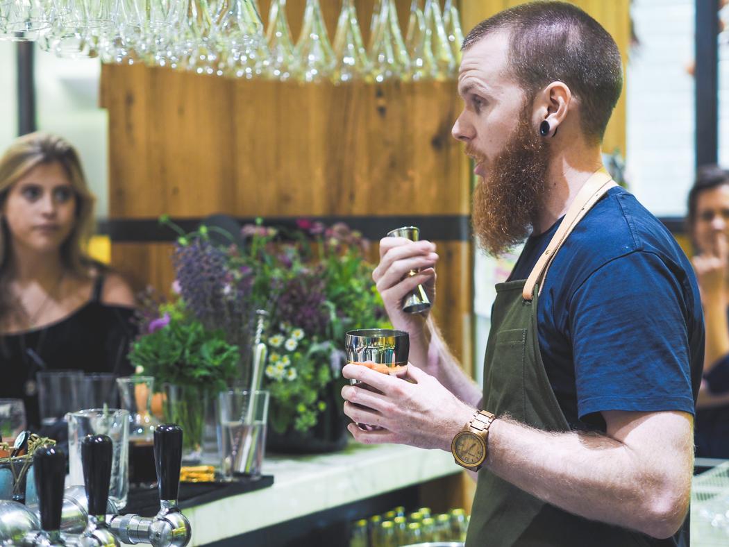 bearded barman