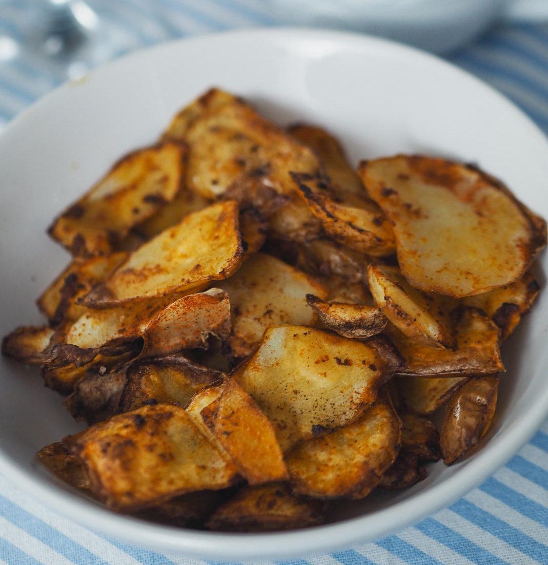 spicy baked potato peelings and creamy avocado dip
