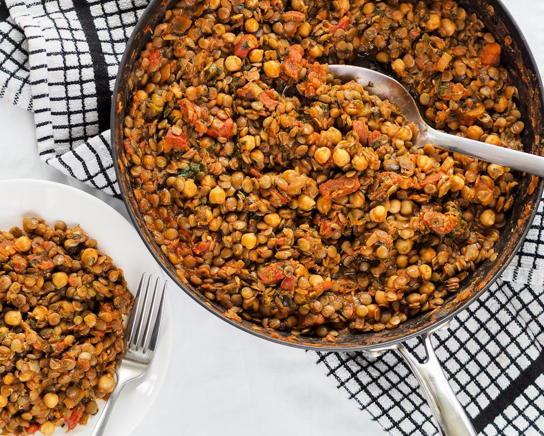 smokey lentil, chickpea and tomato stew