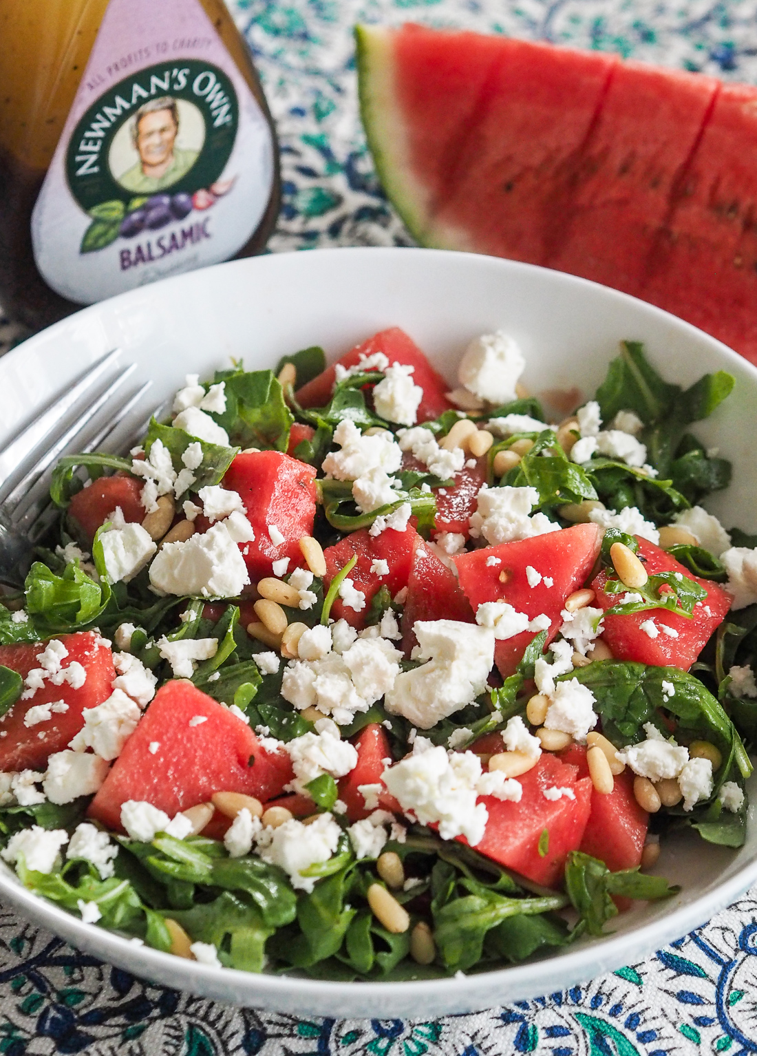 Watermelon Rocket And Feta Salad With Balsamic Dressing