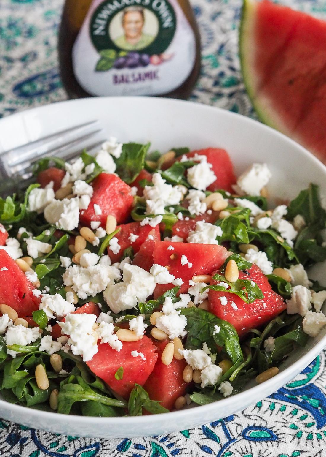 watermelon feta arugula salad with balsamic dressing