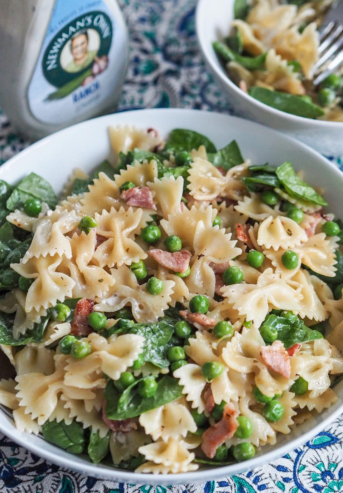 ranch pea and bacon pasta salad