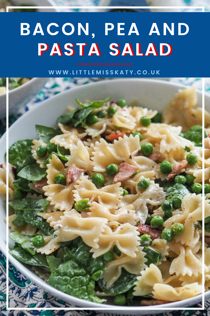 bacon pea and pasta salad with spinach and creamy ranch dressing