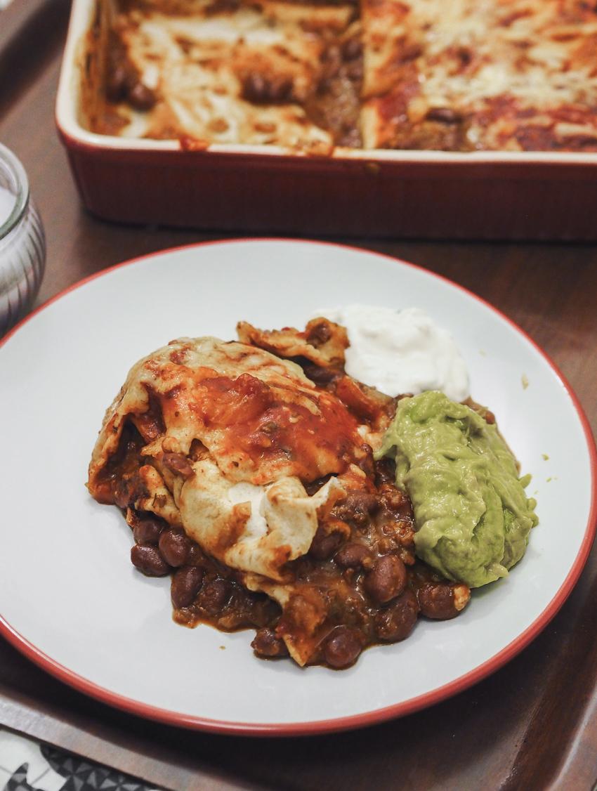 bean chilli enchiladas