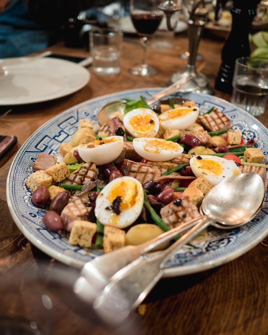 nicoise salad with boiled eggs