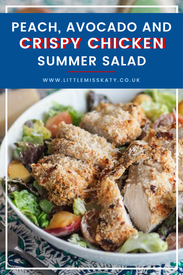 peach, avocado and crispy chicken summer salad recipe