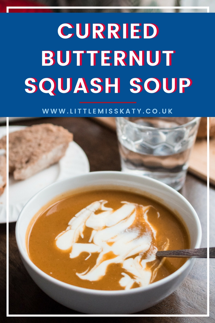 A quick and easy recipe for curried butternut squash and sweet potato soup. This simple soup is smooth and creamy from the sweet potatoes, spicy from the curry powder, and filled with vegetables and vitamins. It's perfect for a snowy winter's day, and takes less time to cook than an episode of your favourite TV show!
