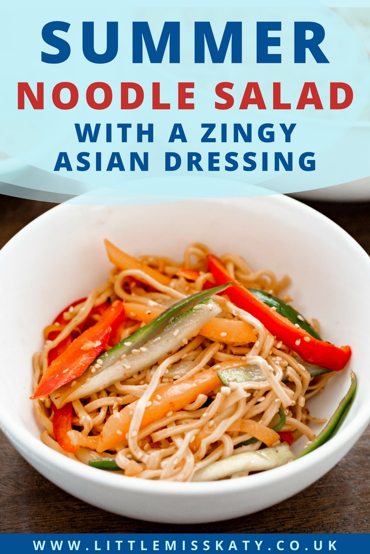cold noodle salad with sesame seeds and a japanese-style dressing