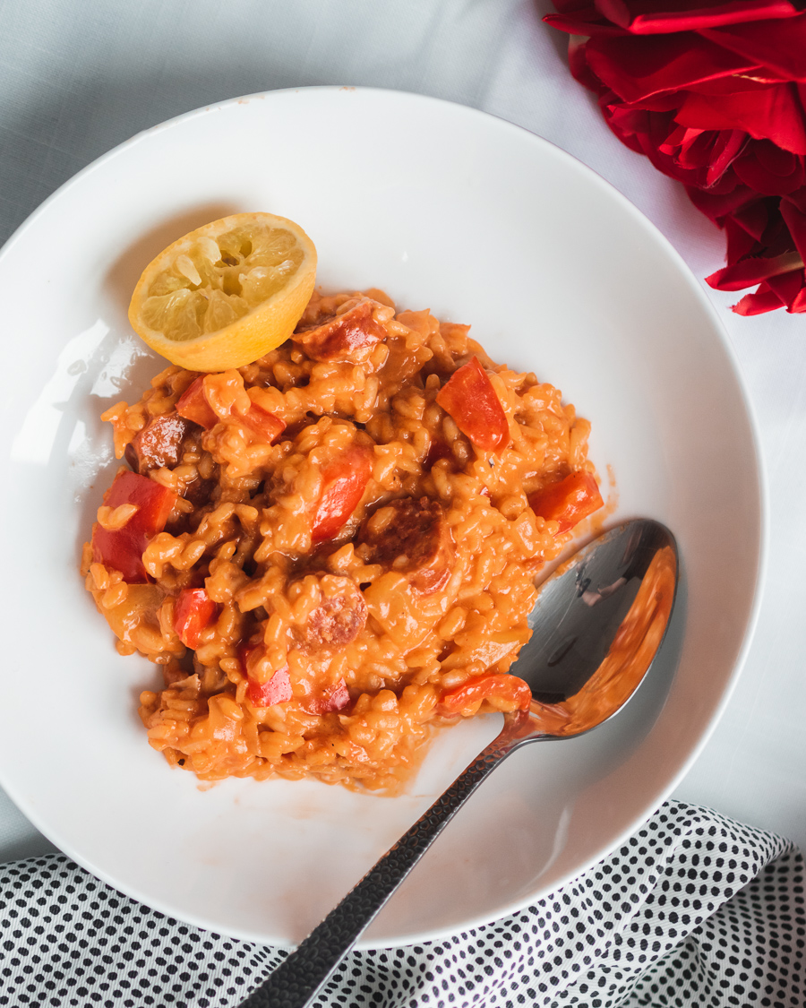 chorizo and pepper risotto with lager