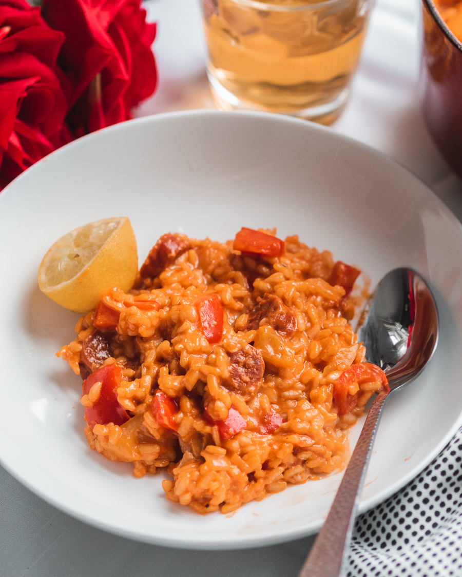 Spanish lager risotto with chorizo and colourful peppers